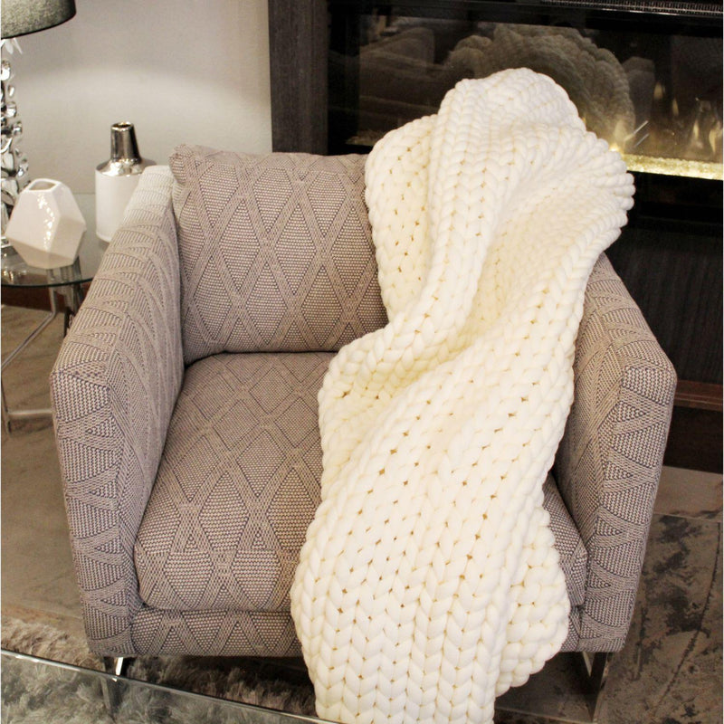 CHUNKY KNIT THROW - CREAM-Throws-Bridget's Room