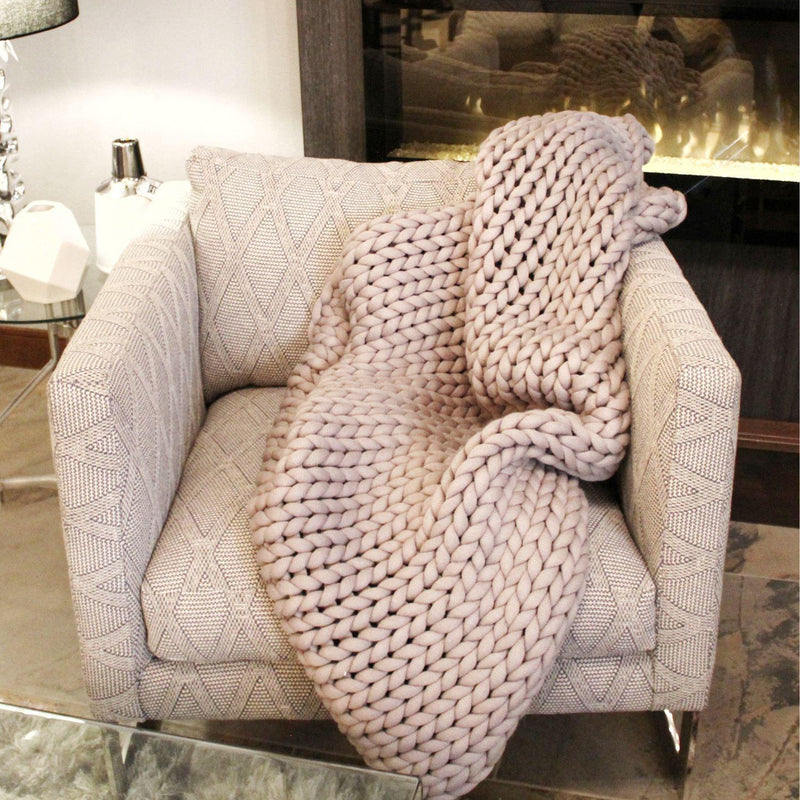 CHUNKY KNIT THROW - GREY-Throws-Bridget's Room