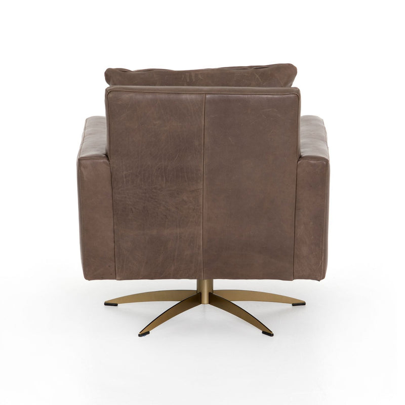 DALL FOSSIL LEATHER SWIVEL CHAIR-Occasional Chairs-Bridget's Room