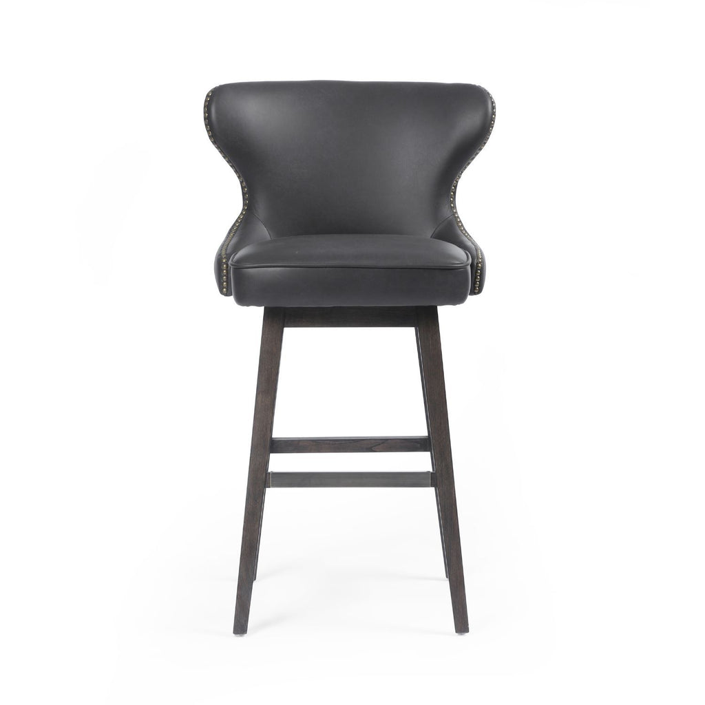 DAWSON ED BLK LEATHER SWIVEL COUNTER STOOL-Bar & Counter Stools-Bridget's Room