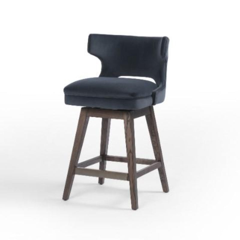 LINDELL RN VELVET BAR STOOL-Bar & Counter Stools-Bridget's Room