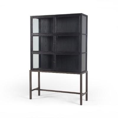 LYDIA CURIO CABINET BLK-Bookcases & Shelving-Bridget's Room