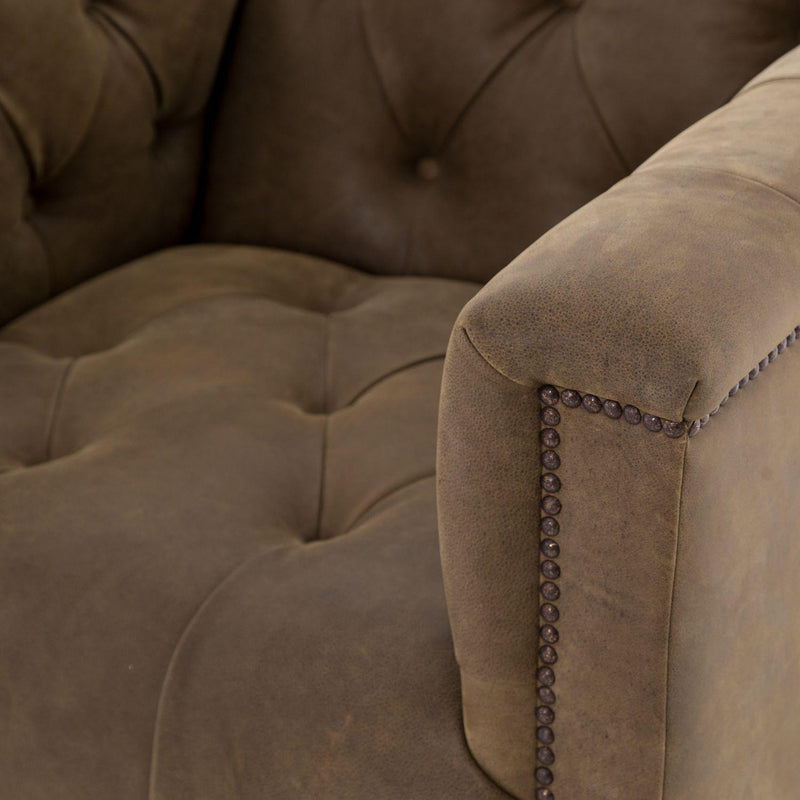MALLORY UMBER LEATHER SWIVEL CHAIR-Occasional Chairs-Bridget's Room