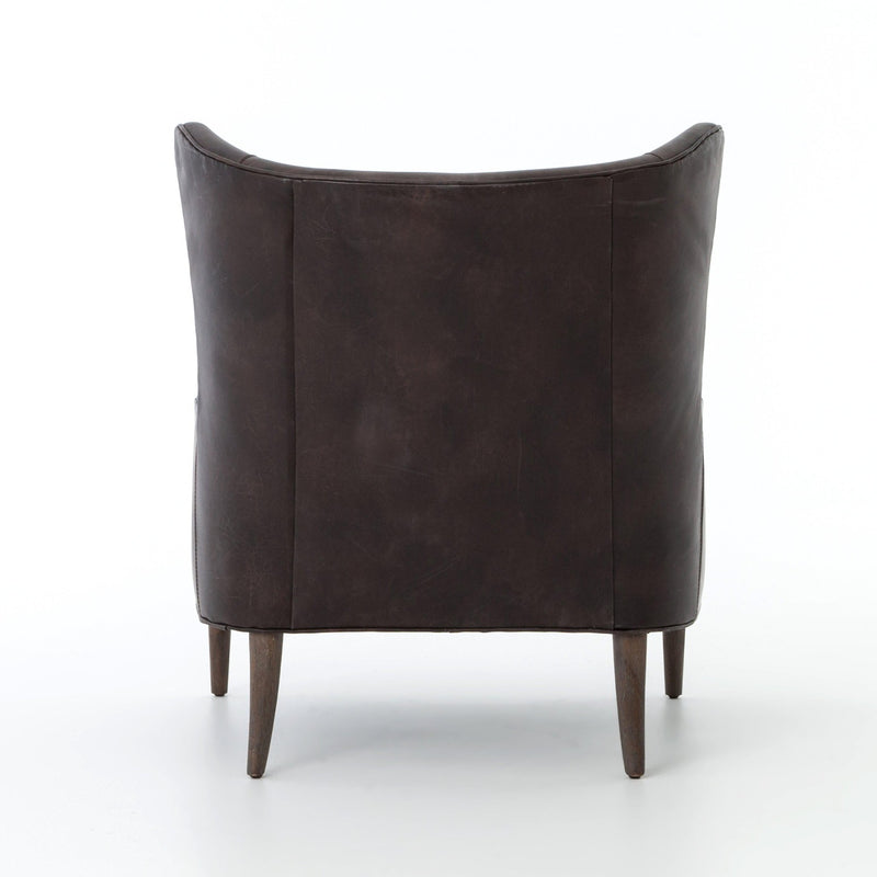 MASON AGED BLK LEATHER WING CHAIR-Occasional Chairs-Bridget's Room