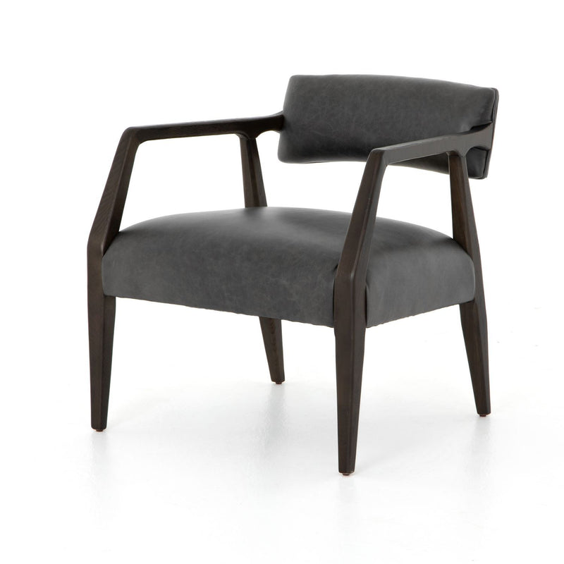 RYLAN PS EBONY LEATHER ARM CHAIR-Occasional Chairs-Bridget's Room