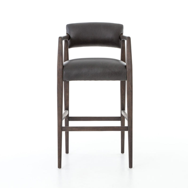 RYLAN PS EBONY LEATHER BAR STOOL-Bar & Counter Stools-Bridget's Room