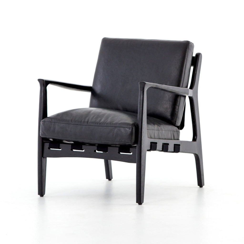 SAHARRA VIN BLACK LEATHER CHAIR-Occasional Chairs-Bridget's Room