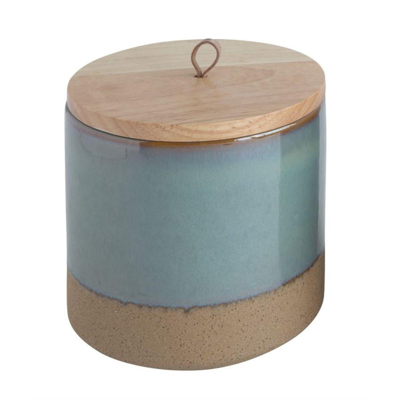 STONEWARE CANISTER W/ WOOD LID-Accents-Bridget's Room