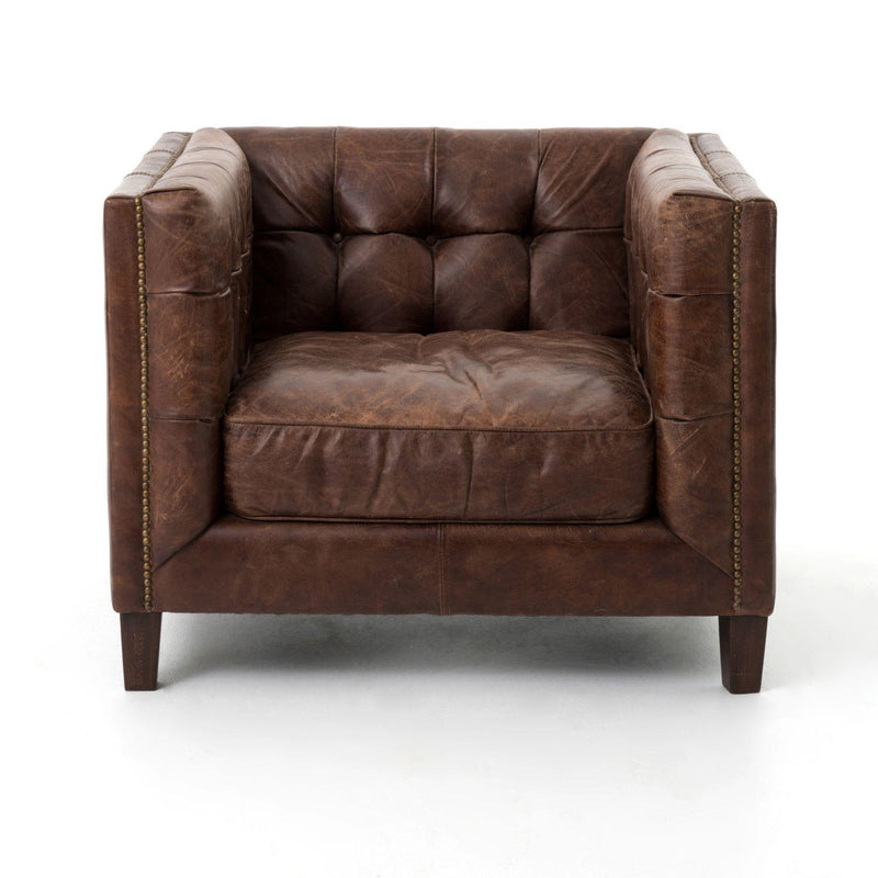 TYE SMOKE LEATHER CHAIR-Occasional Chairs-Bridget's Room