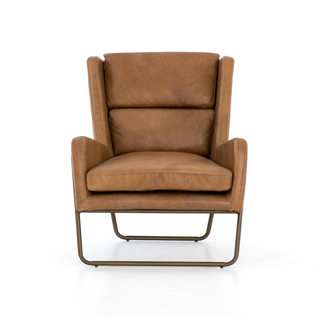 WESLEY PENNY LEATHER CHAIR-Occasional Chairs-Bridget's Room