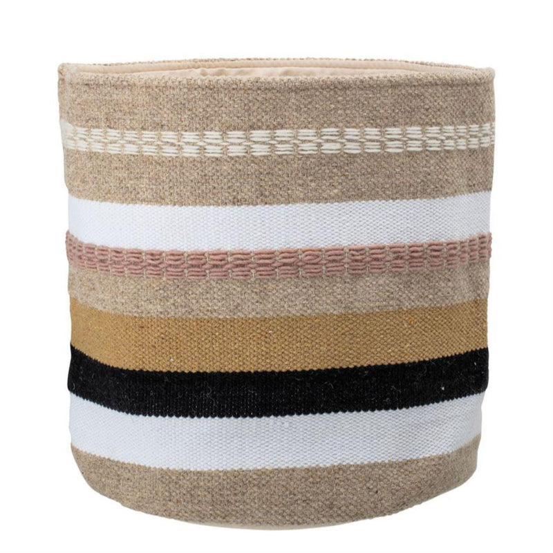 WOVEN STRIPED BASKET-Baskets & Bowls-Bridget's Room