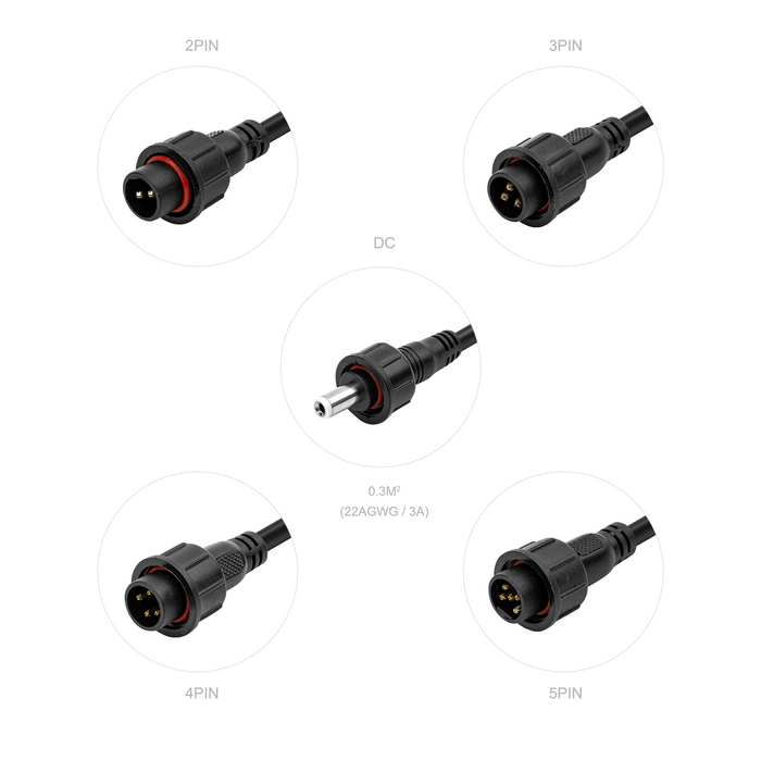 Waterproof IP65 Led Connector 2pin/3pin/4pin/5pin/DC