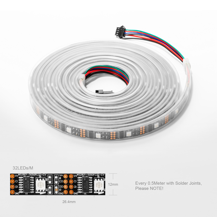 best service e8e9a 20ef8 WS2801 32leds/m DC5V RGB LED Strip Individually Addressable