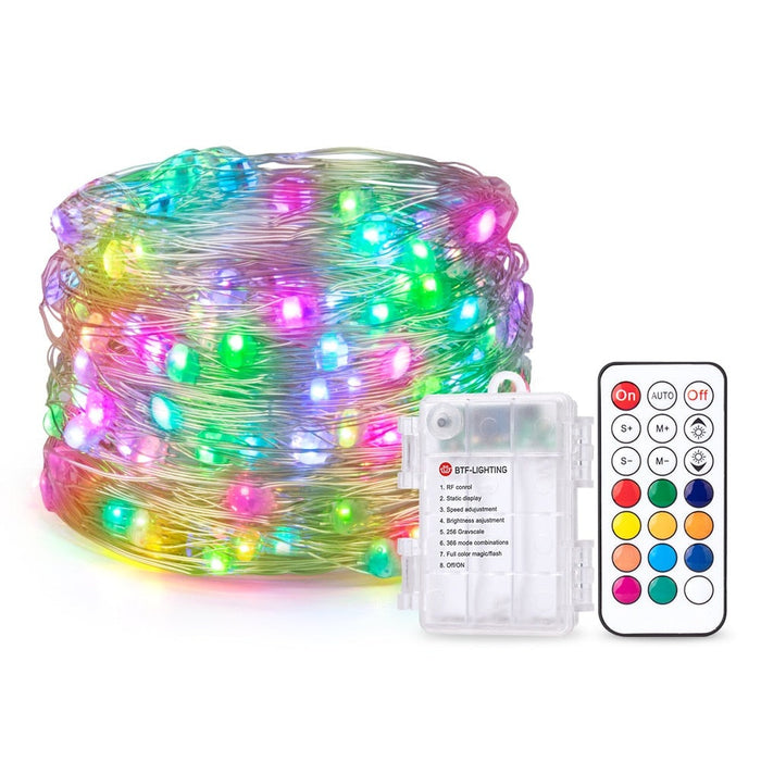 Battery Box LED Pixels String Christmas Lights 2m 5m 10m RF 21keys Controller WS2812B IC Addressable Individually 5V 10 leds/m