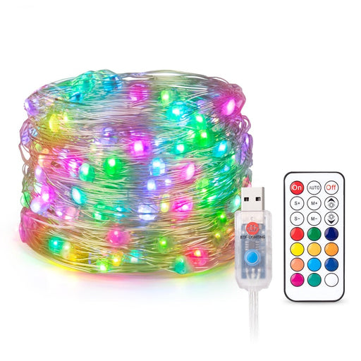 USB RGB LED Pixels String Christmas Lights 2m 5m 10m RF 21keys Controller WS2812B IC Addressable Individually Light 10 leds/m 5V