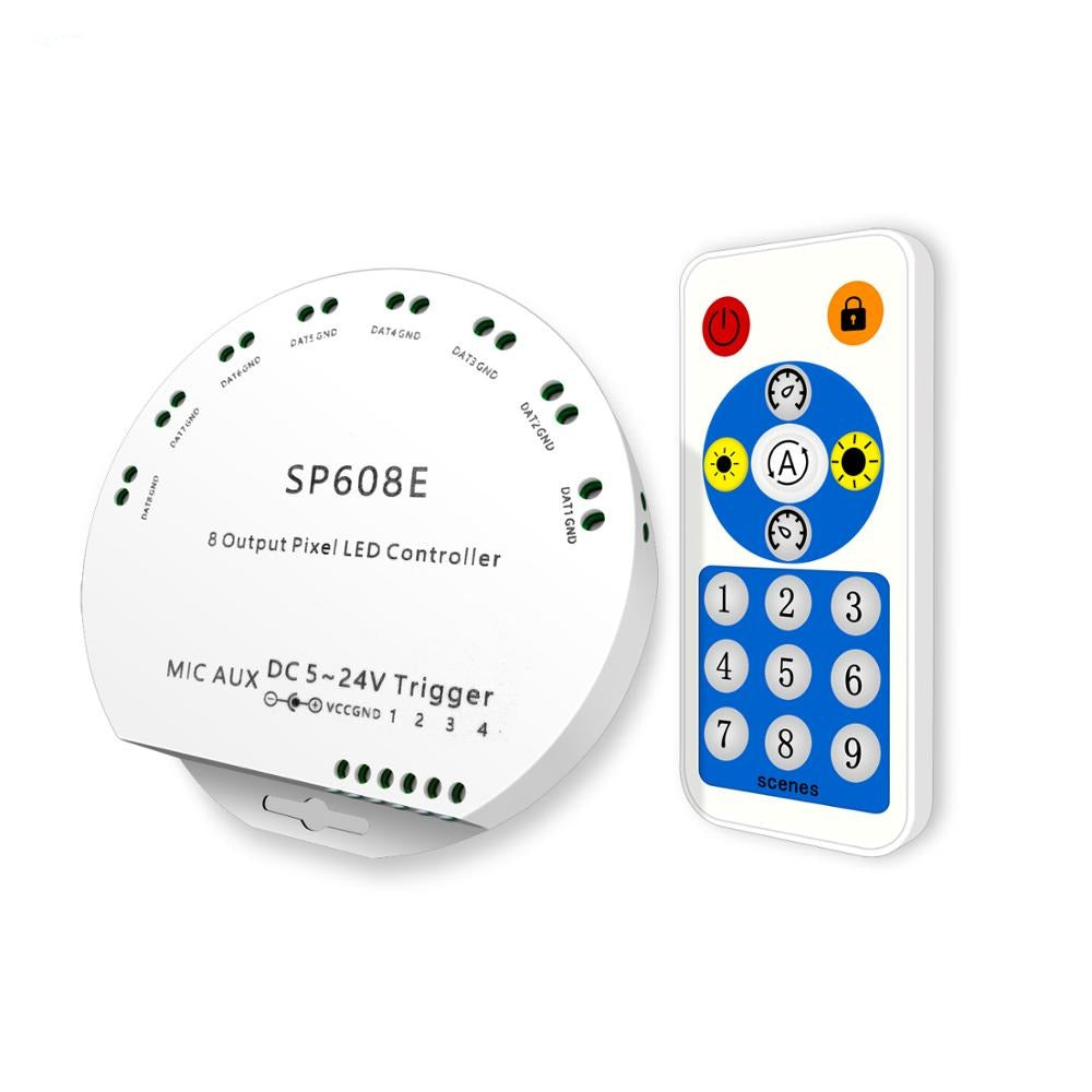 SP608E WS2812B Music Controller 8 CH Signal Output WS2811 WS2815 LED Light Strip Built In Mic IOS Android Bluetooth App DC5V-24V