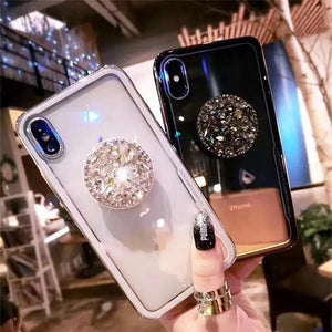 2018 new fashion mirror flash diamond airbag bracket mobile phone case