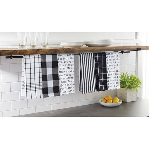 Set of 3 Black & White Dish Towels
