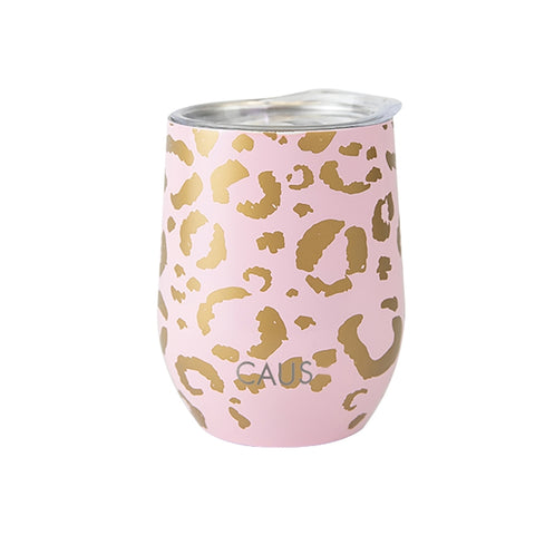 Caus Pink Leopard Wine Glass