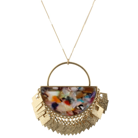 Mulit-Color Semi Circle Necklace