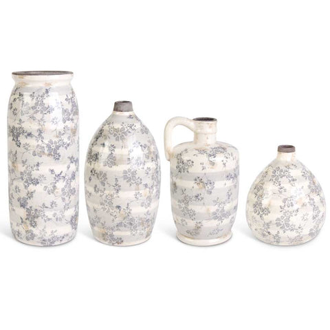 Ceramic Cream Crackle Grey Floral Vases