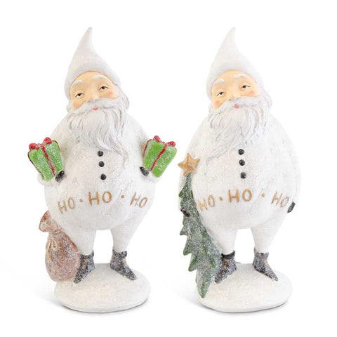 Small White Glittered Santas