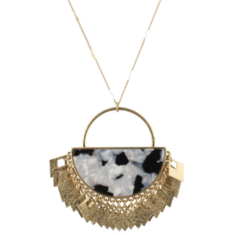 Jet/White Semi Circle Resin Necklace