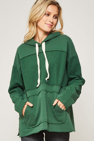 Raw-Edge Kangaroo Hoodie in 2 Colors