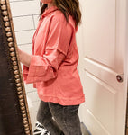 Coral Wide Sleeved Sweatshirt