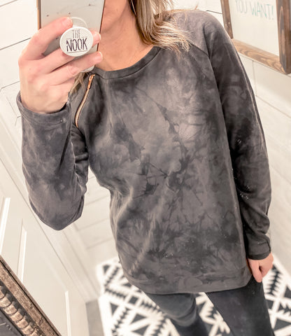Charcoal Tie Dye Pull Over Sweatshirt