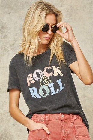 Rock & Roll Mineral Washed Vintage Graphic Tee