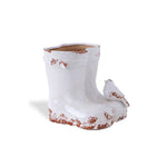 White Ceramic Boot with Bird
