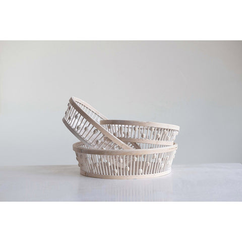 White Bamboo Baskets (3 sizes available)