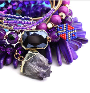 Purple Stone Stretch Bracelet Set