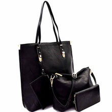 Zip Top Leather Tote 4pcs Set