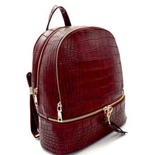 Dark Red Leather Backpack