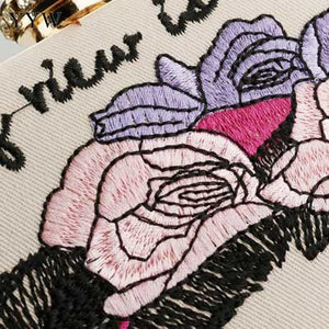 Embroidered Evening Clutch Bag