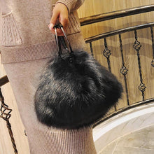 Ring Handle Faux Fur Bag