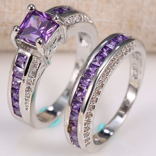 Amethyst Ring 2pc Set | Go Glam Accessories