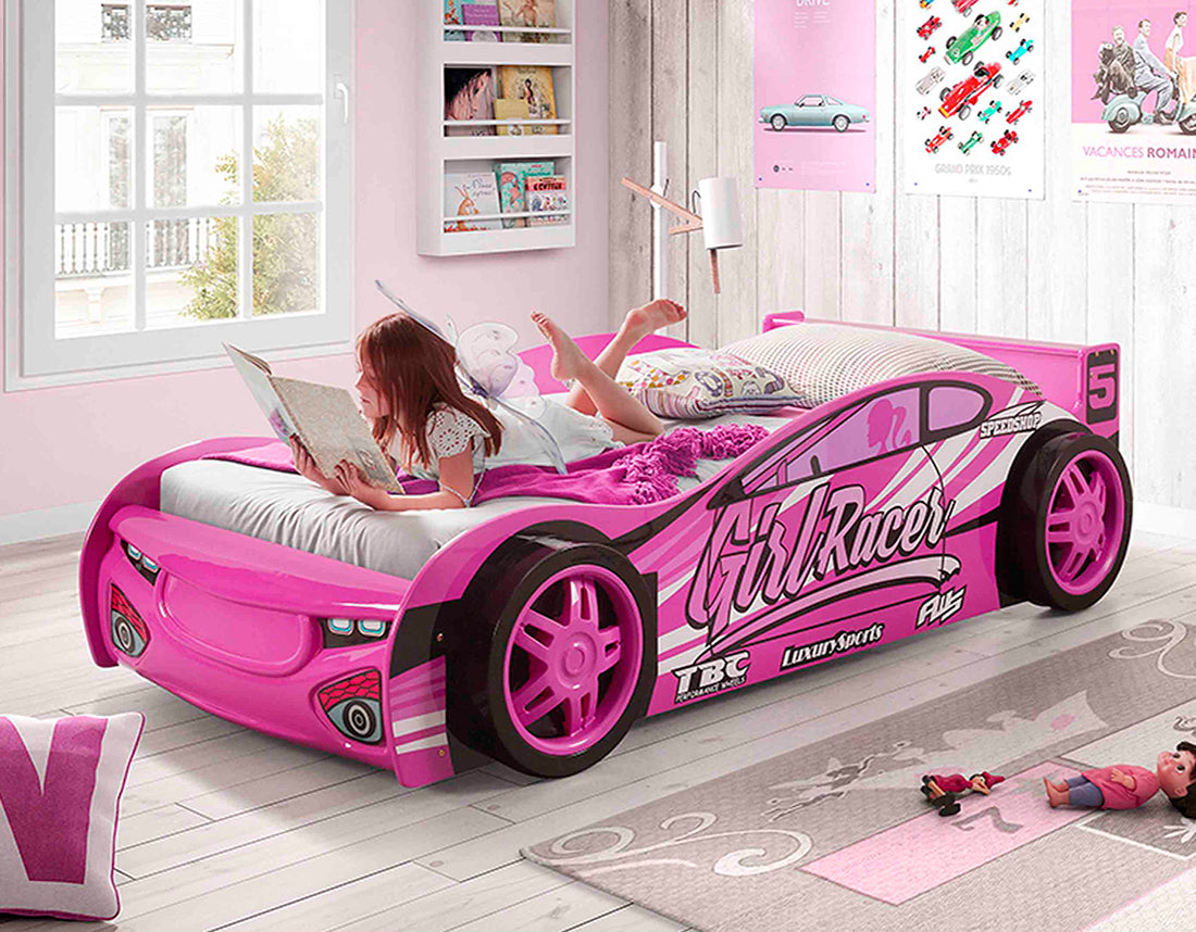 Picture of: Girls Racer Car Bed By Iq Kids