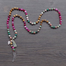 Load image into Gallery viewer, Assorted Gemstone + Feather Mala Necklace