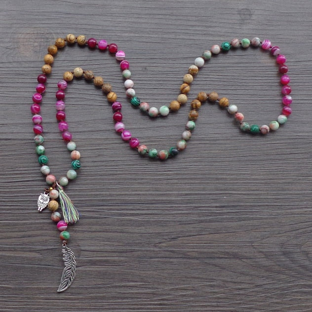 Assorted Gemstone + Feather Mala Necklace