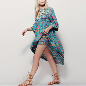 HAILEE Bohemian Mid-Calf Dress