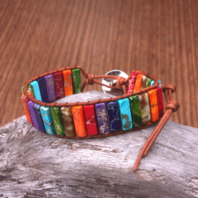 Rainbow Gemstone Leather Wrap