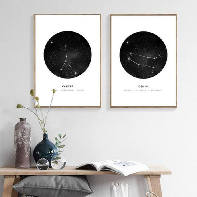 ZODIAC Constellation Canvas Poster