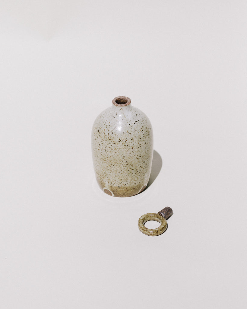 Dark Speckled Ring Top Vase