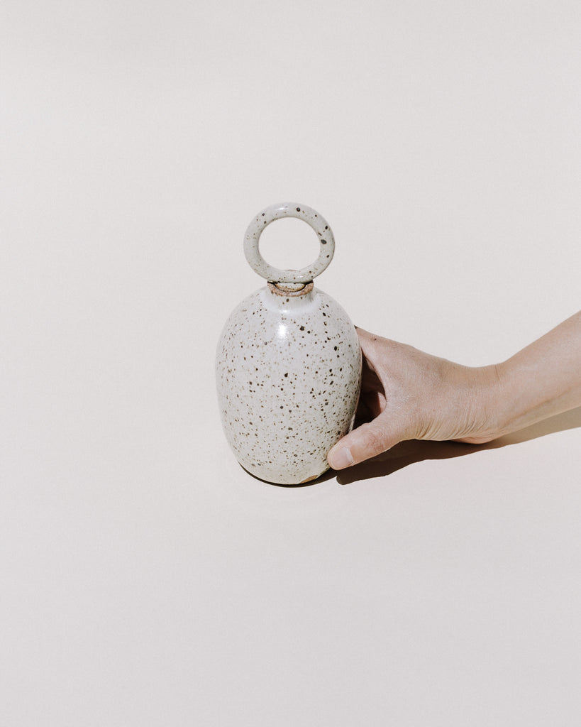 White Speckle Ring Top Vase