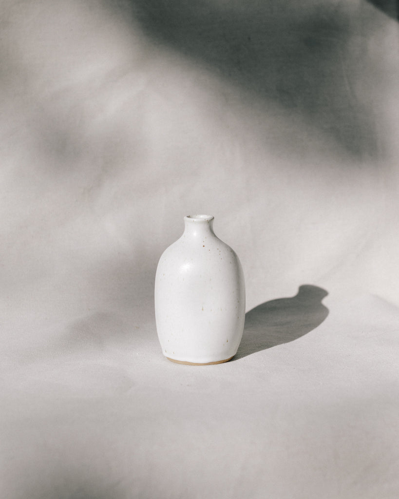 Satin White Dimple Vase III