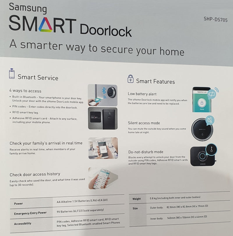 Samsung Smart Doorlock Bluetooth Rim Lock