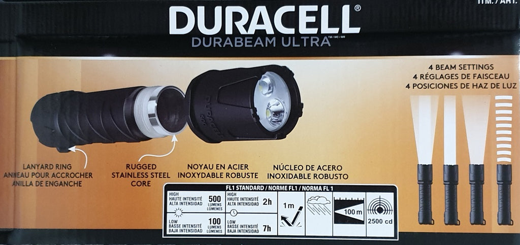 Duracell Durabeam Ultra LED Flashlight 500 Lumens - 3 Pack